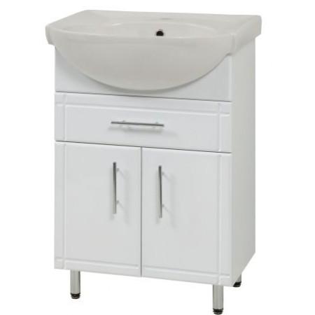"Тумба для ванной комнаты на ножках ""SL-56-2-F"" белая с раковиной ""Солас"""