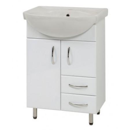 """Тумба для ванной комнаты на ножках """"SL-56"""" белая с раковиной """"Солас"""""""