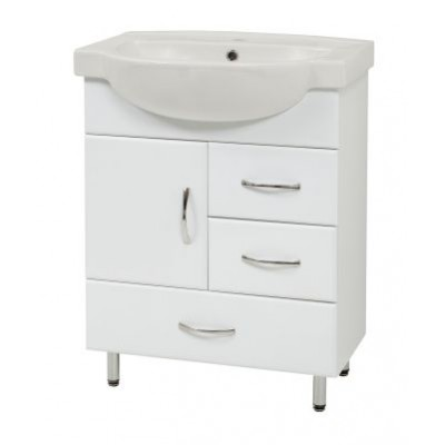 """Тумба для ванной комнаты на ножках """"SL-65"""" белая Сансервис в комплекте с раковиной """"Freya-65"""""""