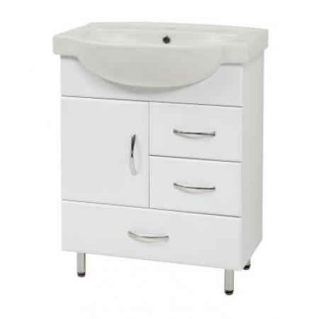 """Тумба для ванной комнаты на ножках """"SL-65"""" белая с раковиной """"Freya-65"""""""