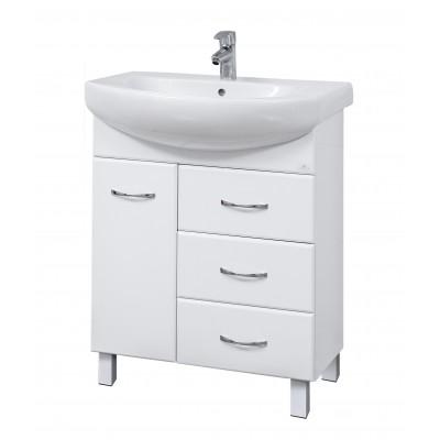 """Тумба для ванной комнаты на ножках """"SL-70"""" белая Сансервис в комплекте с раковиной """"RUNA-70"""""""
