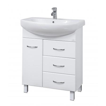 "Тумба для ванной комнаты на ножках ""SL-70"" белая с раковиной ""RUNA-70""."