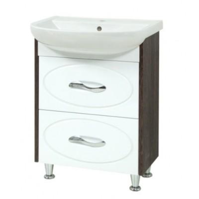 """Тумба для ванной комнаты """"Сириус-55-2"""" винтаж на ножках Сансервис в комплекте с раковиной """"Артеко-55"""""""